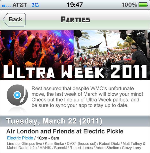 Ultra Music Festival iphone and android applications
