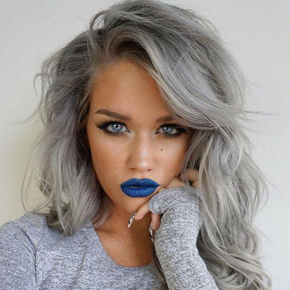 Grey Hair Girl Blue Lipstick