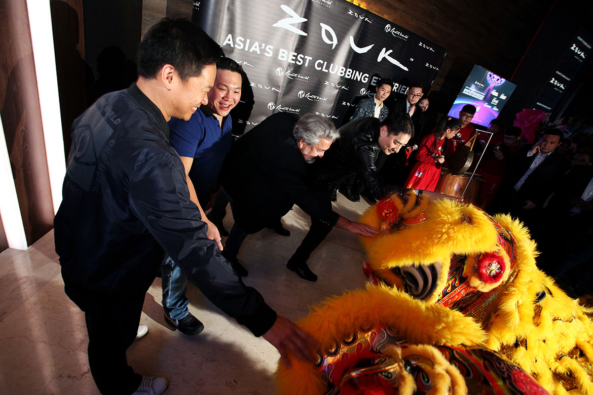 The lion dance at the Grand Opening of Zouk Genting