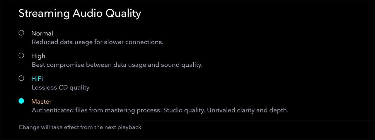TIDAL Audio Quality Settings